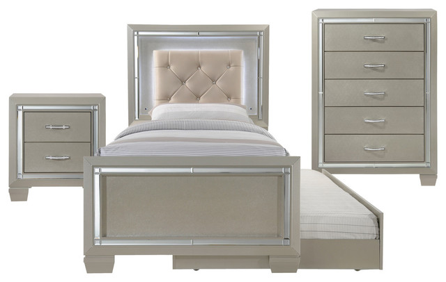 Picket House Furnishings Glamour Panel Bedroom, 3-Piece Set, Twin