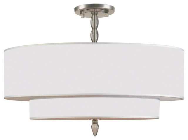 Crystorama Luxo Semi-Flush Mount Ceiling Fixture, Satin Nickel.