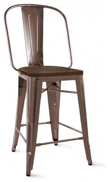 Dreux Rustic Matte And Elm Wood Seat Steel Counter Chairs