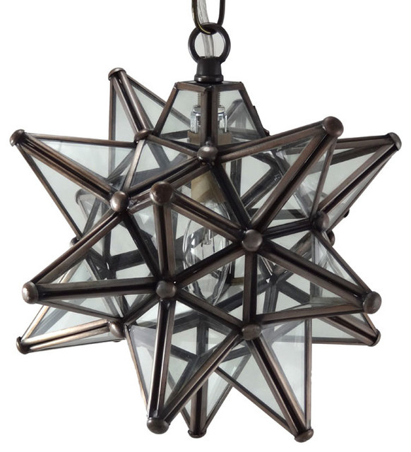 Moravian star pendant light clear glass bronze frame