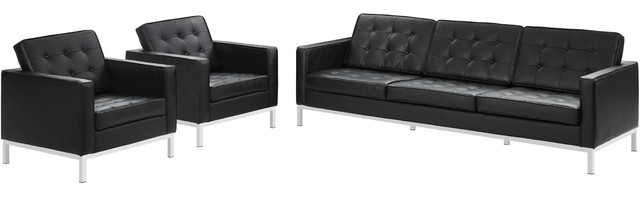 Loft 3 Piece Leather Sofa And Armchair Set Black