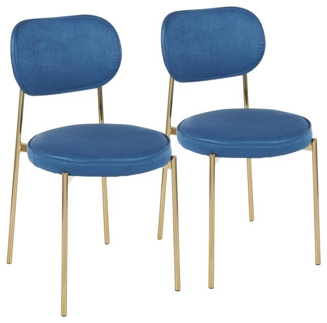 Chloe Dining Chair, Set of 2, Gold Metal, Blue Satin