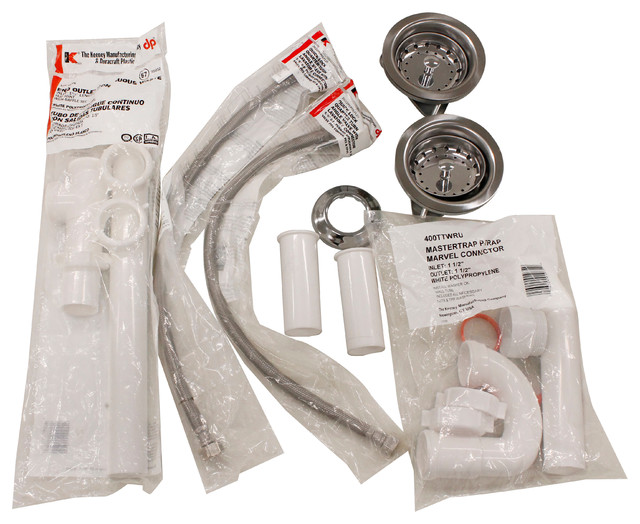 Keeney, Complete Double Bowl Kitchen Sink End Outlet Installation Kit