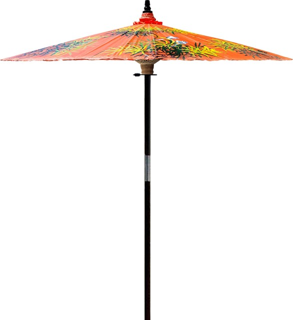 Bamboo Forest Outdoor Patio Umbrella, Passion Fruit Orange