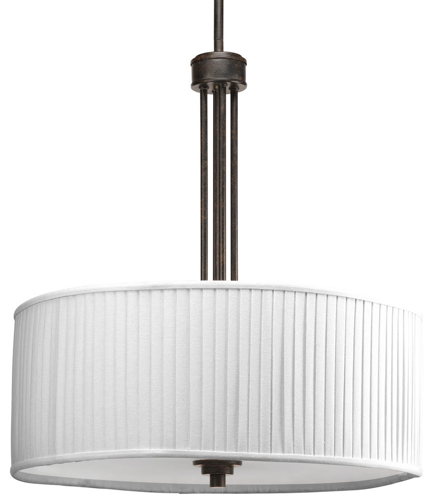 Progress Lighting 3 Light Pendant White Pleated Linen Shade Espresso Midcentury Pendant Lighting By Buildcom