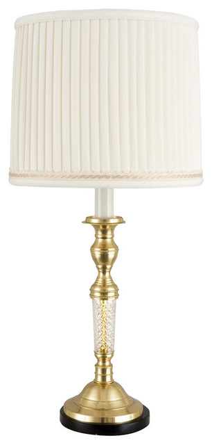 French Crystal And Brass Candlestick Lamp Traditional Table Lamps