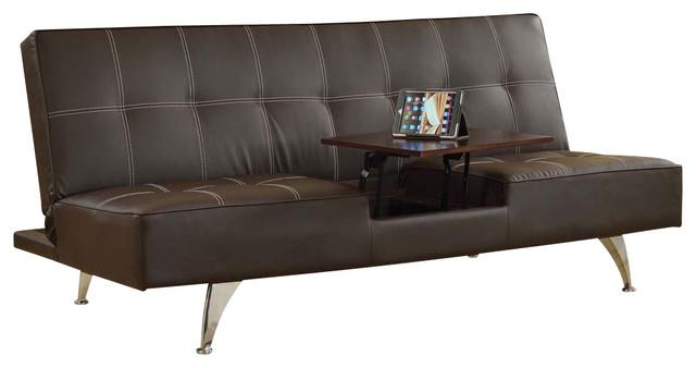 Modern Brown Pu Adjule Futon Sofa Bed Sleeper Wwith Hidden Table Chrome Legs