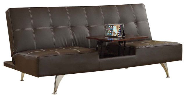 Modern Brown PU Adjustable Futon Sofa Bed Sleeper Wwith Hidden Table Chrome  Legs Modern Futons
