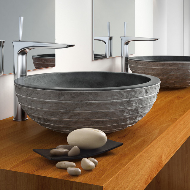 Puket Contemporary Natural Stone Black Vessel Sink Modern Bathroom Sinks By Maestrobath