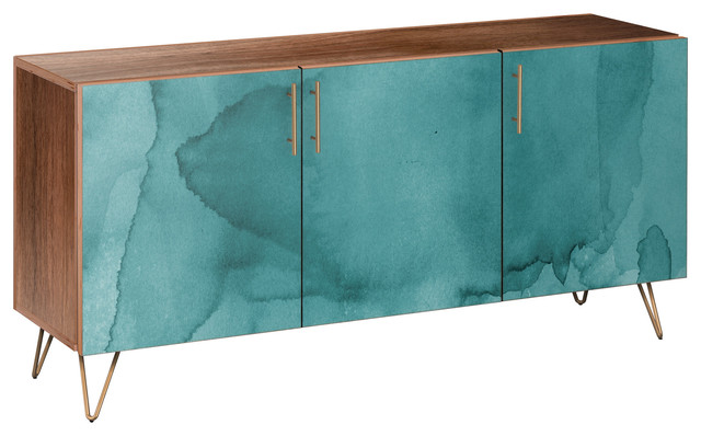Pacific Waters Hairpin Sideboard, Walnut/brass.