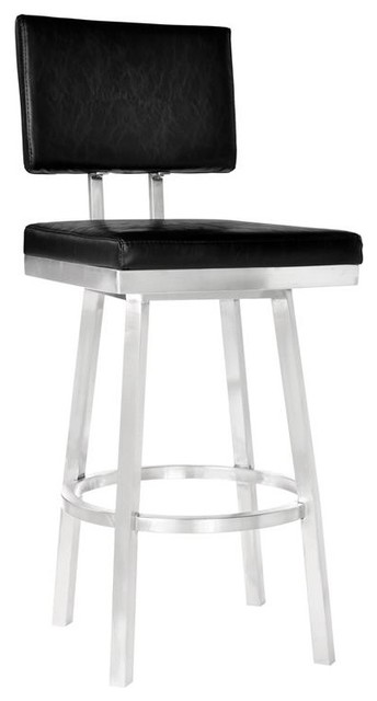 Amazing Balboa 30 Bar Height Barstool Brushed Stainless Steel Black Faux Leather Onthecornerstone Fun Painted Chair Ideas Images Onthecornerstoneorg