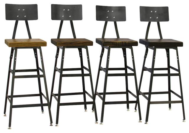 Reclaimed Wood Bar Stools, Steel Backs, Set Of 4, 18x16x16, Clear Coat