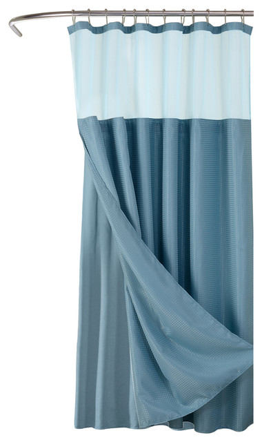 Hotel Collection Waffle Shower Curtain With Detachable Liner 72x70 Aqua Contemporary