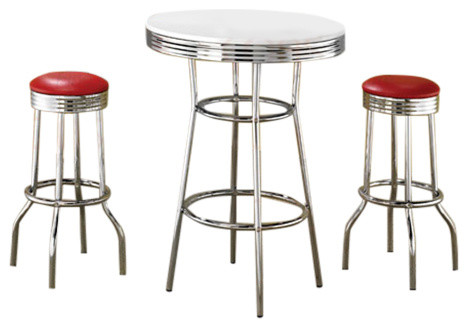 High Quality 50u0027S Retro Soda Fountain Bar Table Set By Coaster Midcentury Indoor Pub And