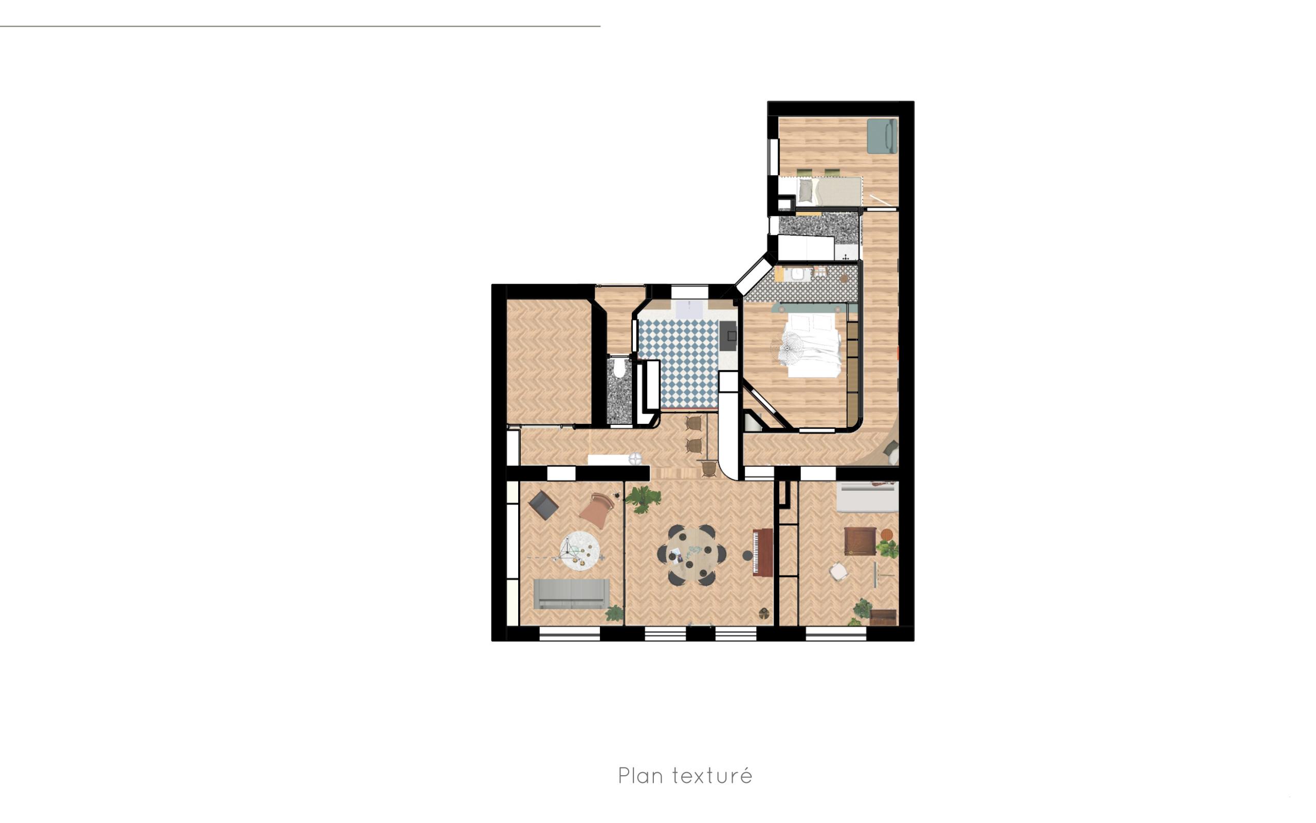 Option 1 - Appartement C - Plan texturé