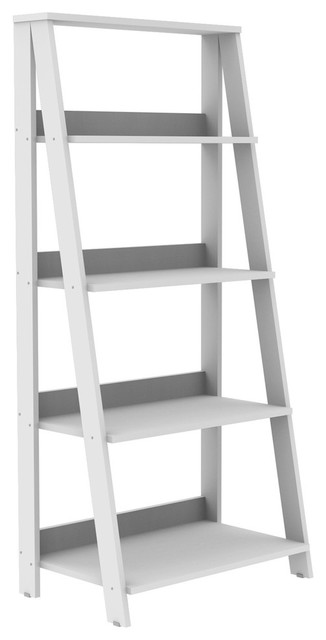"55"" Ladder Bookshelf, White"