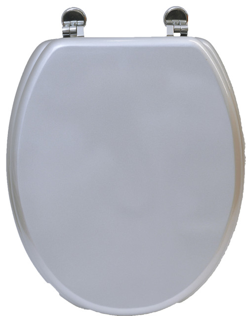 Oval Toilet Seat Silvery With Zinc Hinges Shiny Silv