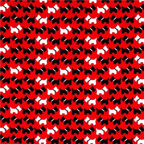 red fabric with Scottie dogs terrier Robert Kaufman