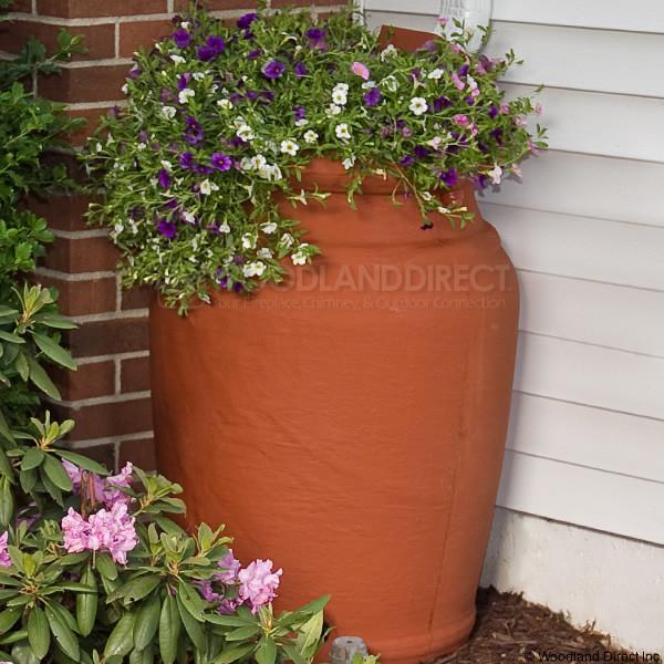 planter urn rain barrel terra cotta rain barrels - Decorative Rain Barrels