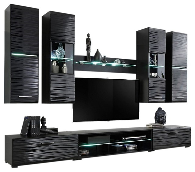 Modern 4 Entertainment Center Wall Unit With Led Lights 50 Tv Stand