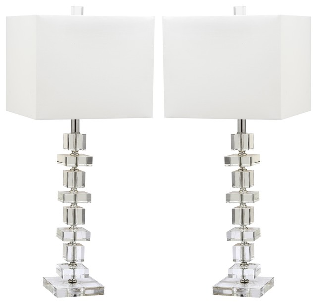 Deco Crystal Table Lamp, Set Of 2, Crystal.