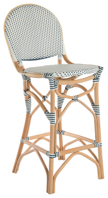 Rattan Bistro Bar Chair White And Blue