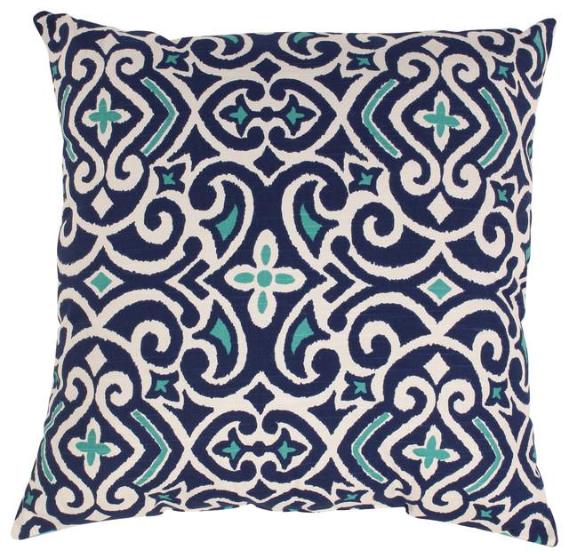 "New Damask Floor Pillow, Marine, 24.5""."