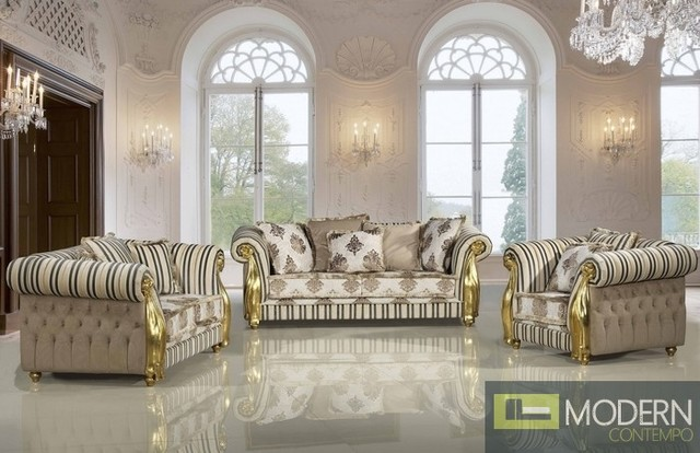 Three Piece Luxury Sofa Set Traditional Living Room