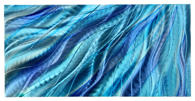 Stunning Aqua Blue And Silver Contemporary Metal Accent Wall Art, Glory, 24.