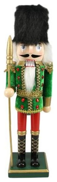 Decorative Wooden Green, Red And Gold Christmas Nutcracker Soldier, Spear.
