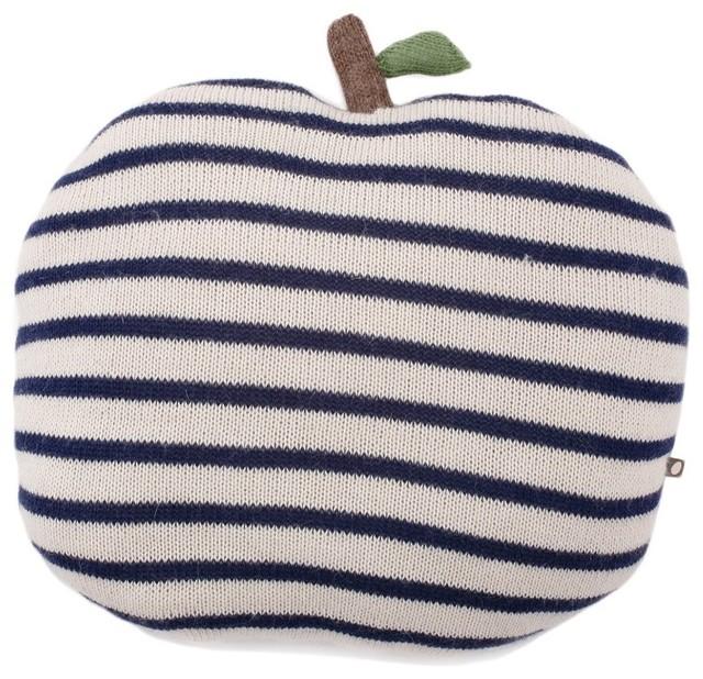 Navy Striped Apple Pillow