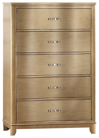 Bentwood, Pine Wood, Plywood And Birch Veneer Chest, Gold.