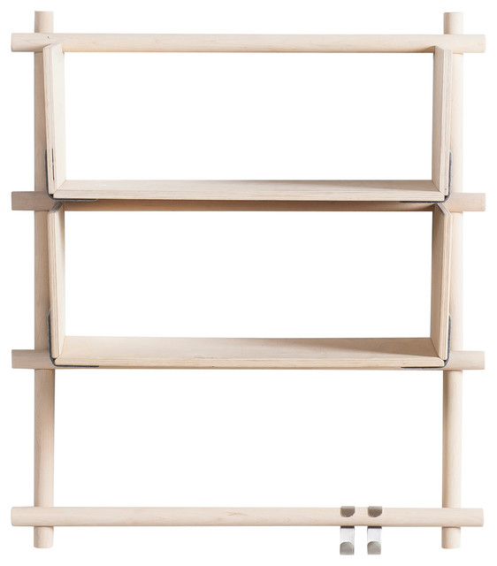 Foldin Vertical Wall-Mounted Shelving Unit, Vertical, 2 Shelves  contemporary-display-