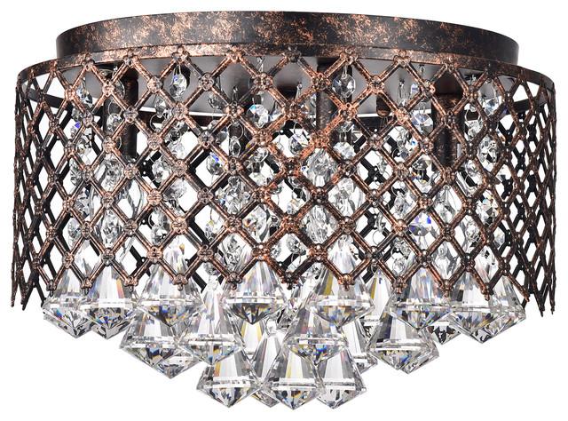 4 Light Antique Copper Lattice Crystal Flush Mount Chandelier Glam Traditional Flush Mount Ceiling Lighting By Edvivi Lighting