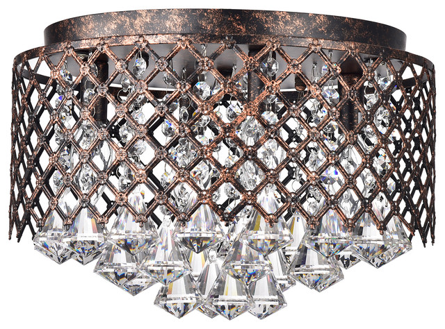 4 Light Antique Copper Lattice Crystal Flush Mount Chandelier Glam
