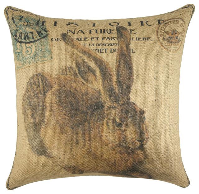 Rabbit Burlap Pillow.