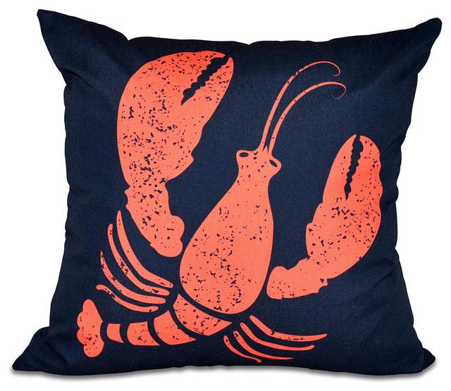 "Lobster, Animal Print Pillow, Navy Blue, 16""x16""."