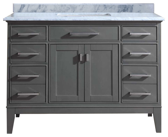 Lillian Carrara Marble Bathroom Vanity  Gray 48 transitional bathroom vanities 36 Transitional