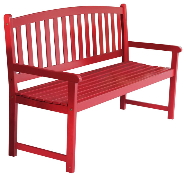 5 Ft Outdoor Garden Bench In Red Wood Finish With Armrest Contemporary Benches By Hilton Furnitures