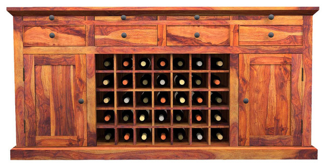 Oenophile Dallas Ranch Large Rustic Wine Bar Buffet Cabinet