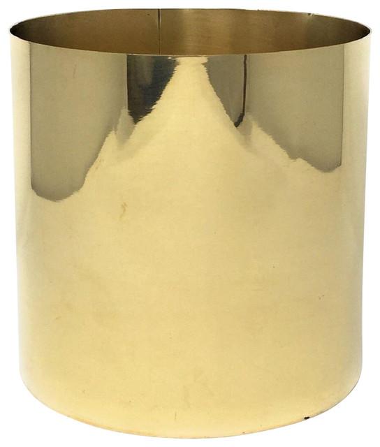 Serene Spaces Living Polished Brass Cylinder, Shiny Round Vase for Wedding