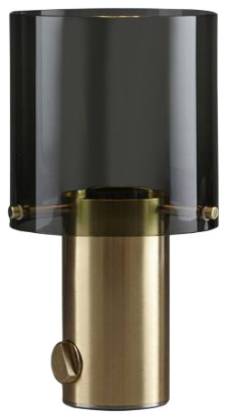 Walter Table Lamp, Anthracite, Glass and Brass, Small
