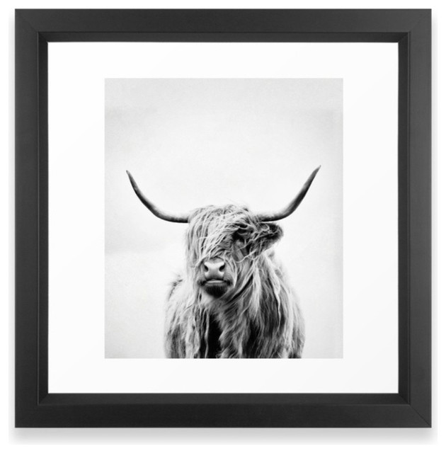 """""""portrait Of A Highland Cow Vertical"""" Framed Print, Large Gallery 26""""x38""""."""