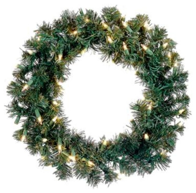 """18"""" Pre-Lit Deluxe Windsor Pine Artificial Christmas Wreath - Clear Lights."""