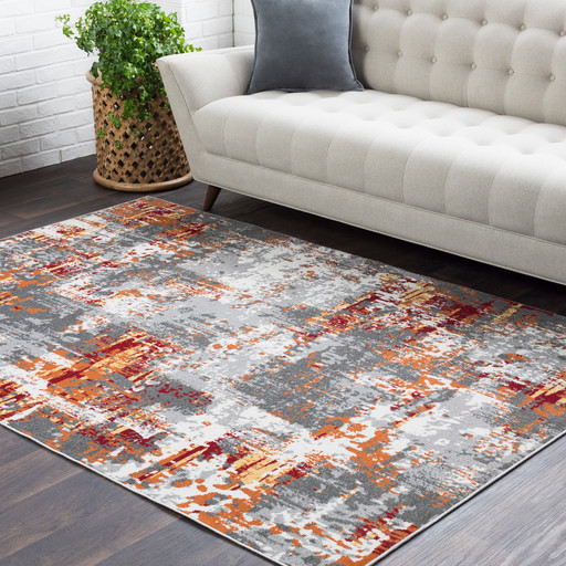 Salina Abstract Gray Orange Area Rug Contemporary Area Rugs By Hauteloom Houzz