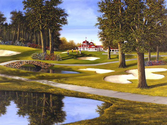 """""""On the Green"""" Canvas Painting by H. Hargrove, 24""""x20"""""""