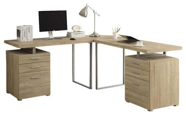 Monarch Specialties Reclaimed Look 3 Piece Desk Set Dark