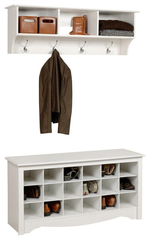 Prepac Sonoma White 2-Piece Shoe Bench Entryway Set