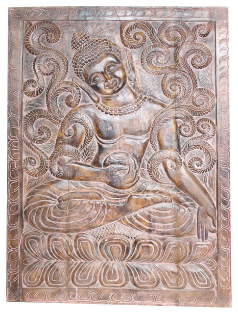 Consigned Indian Vintage Sitting Buddha Wall Panel Hand Carved Wooden Wall Decor