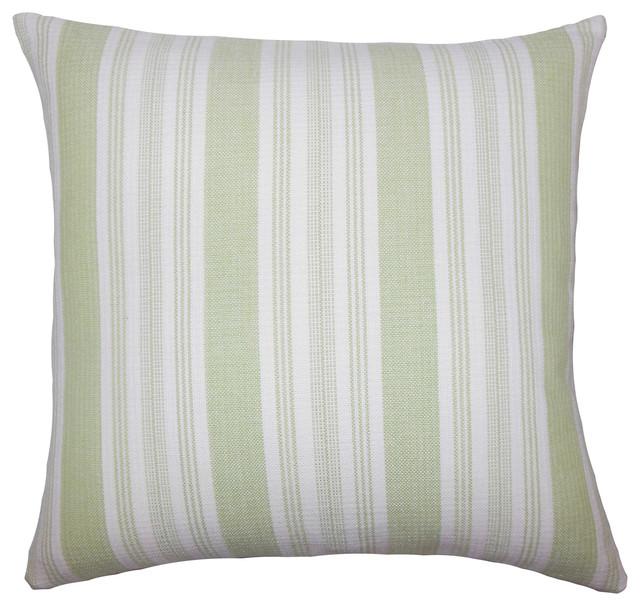 Reiki Striped Bedding Sham Honeydew Euro Sham 26 X26